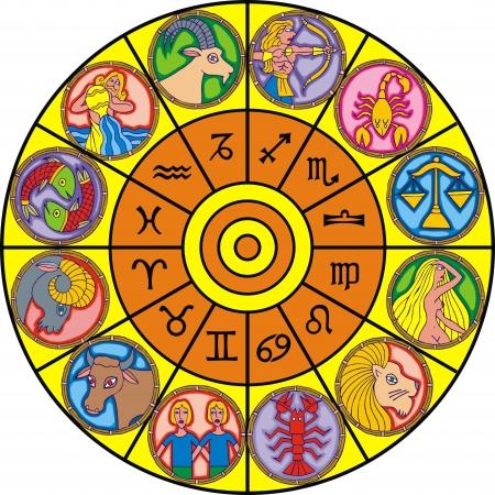 zodiaque horloge isolé sur le fond blanc Vecteurs