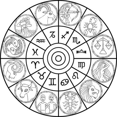 constelaciones: reloj del zodiaco aislado en el fondo blanco Vectores