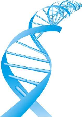 blue DNA spiral isolated on white background Illustration