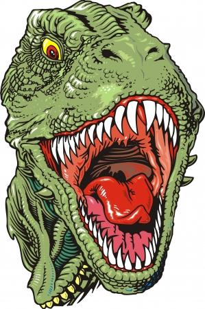 охотник: Глава tyranosaurus Rex на белом фоне