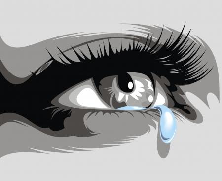 fille pleure: illustr� ?il sombre et fine larme couler