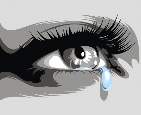 illustrated dark eye and fine trickling tear Vector
