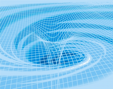 water vortex: white curves on the blue water vortex