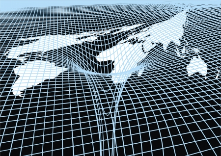glob: abstract world map on the black and blue background