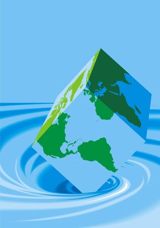 physically: water waves and world map as a cube on the blue background Illustration