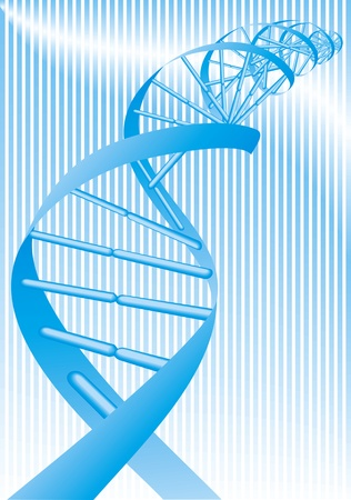 researchs: illustrated blue DNA spiral on the fine background Illustration