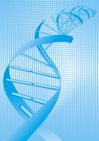researchs: illustrated DNA spiral on the blue background