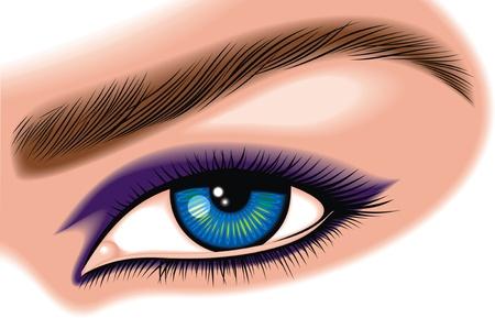 illustrated blue eye isolated on  white background