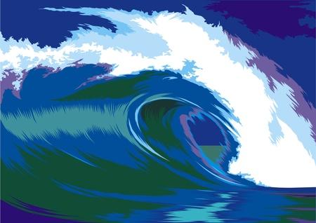 blue ocean waves crashing on the beach Stock Vector - 18307754
