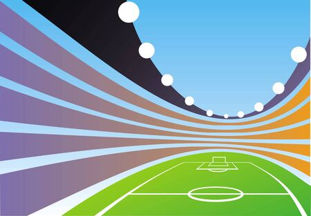 color illustrated spacious summer Olympic sports stadium Vector