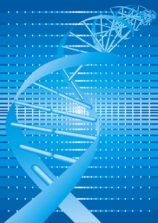 researchs: abstract DNA spiral on the blue background
