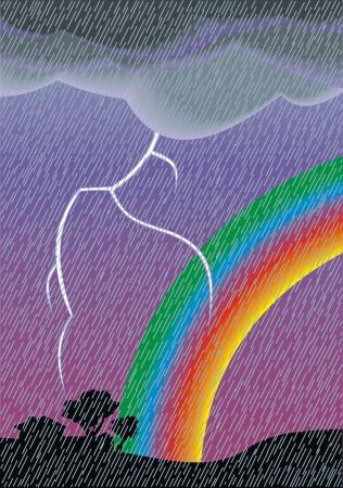 dark storm sky with bright glowing rainbow Illustration