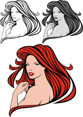 nice head of red hair girl on the white background Vetores