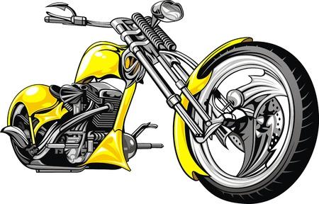 cicla: muy bonita moto yelow aislado en el fondo blanco