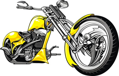 parked: very nice yelow motorbike isolated on the white background