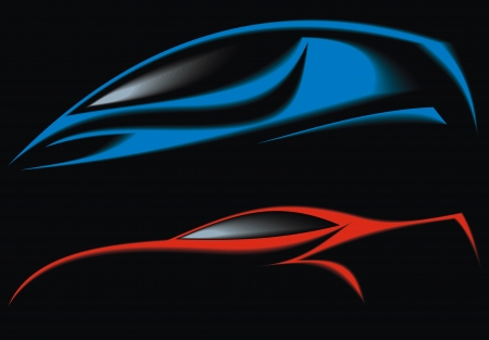 auto illustratie: blauw en rood originele auto-ontwerp op de zwarte achtergrond Stock Illustratie