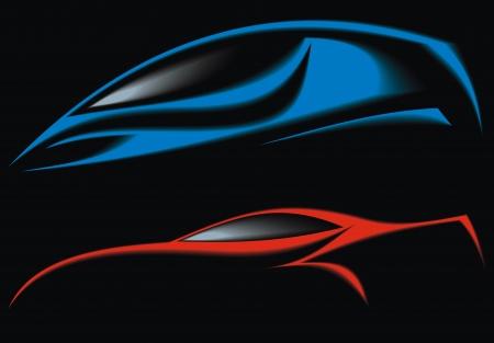 silhouette voiture: bleu et rouge design automobile d'origine sur le fond noir