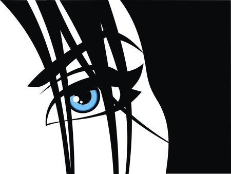 blue eye of woman on the black background Stock Vector - 18580502