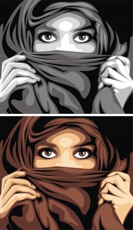 sehr schönes arabisches Mädchen und ihre schönen Augen Vektorgrafik