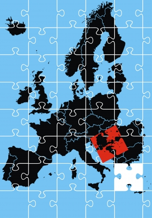 europe maps and problems as a puzzle on blue background Stock Vector - 18580707