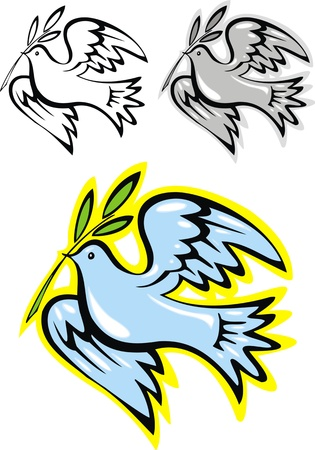 illustrated peace bird on the white background  Vector