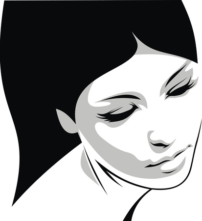 sexy stockings: Illustrated schwarzen und wei�en feinen M�dchen Gesicht Illustration