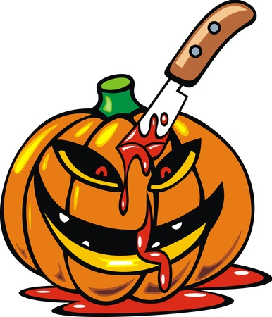 illustrated halloween pumpkin with blood on the white background  Vector