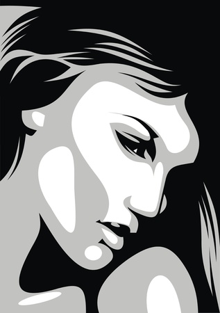 tempting: Illustrated black and white fine girl  face