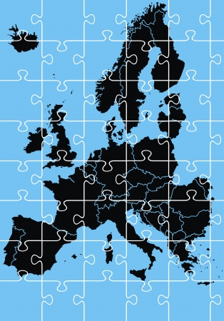 black europe map on the blue background Vector