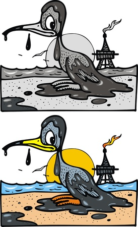 environmental disaster: oil problem and bird on the white background Illustration