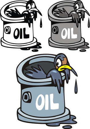 civilisation: illustrated birds and oil problem isolated on white background