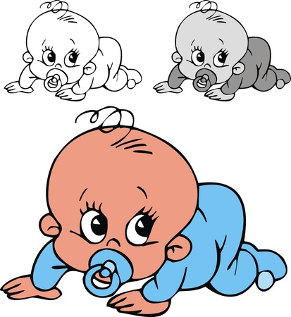illustrated small baby  in three color versions Vector