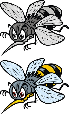 two versions illustrated bees isolated on white background  Vector