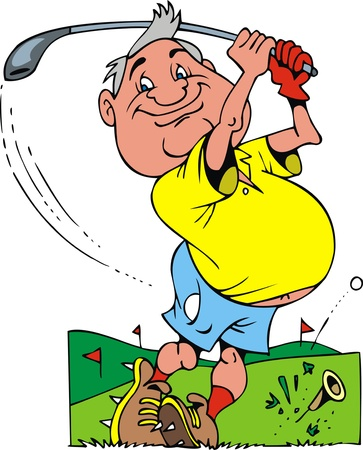 illustrated smiling old golfer on the white background