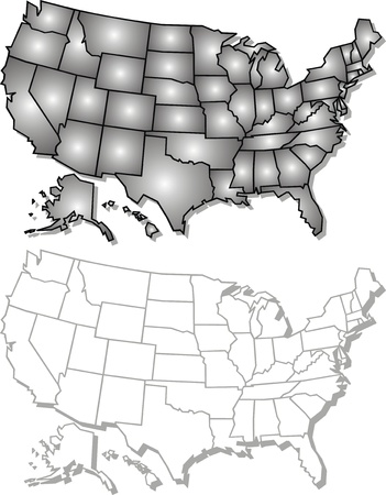 An US State Map In Black And White D Royalty Free Cliparts - Black and white usa map
