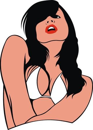 bikini girl isolated on the white background