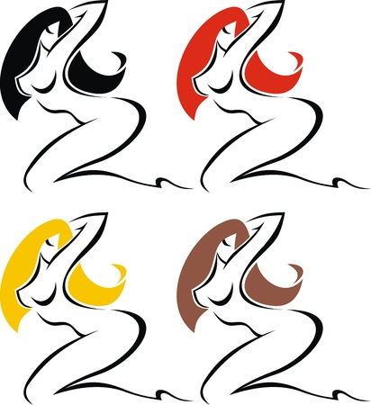 sexy womans icons isolated on the white background Illustration