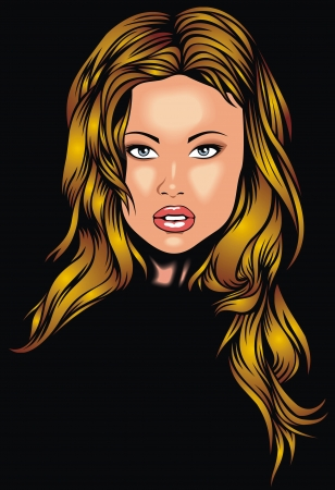 atractive: head of very atractive girl on the black background Illustration