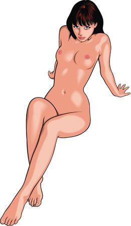 naked girl: nice naked girl  woman  isolated on the white background Illustration