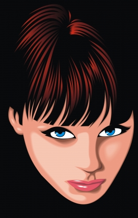 nice girl  woman   face from my fantasy isolated on the dark background
