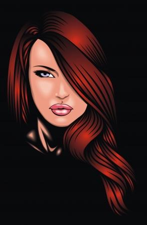 nice girl Frau Gesicht aus meiner Phantasie auf dem dunklen Hintergrund