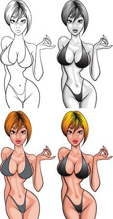 adult nude: nice bikini girl  woman  isolated on the white background