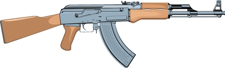 kalashnikov: old automatic gun isolated on the white background Illustration