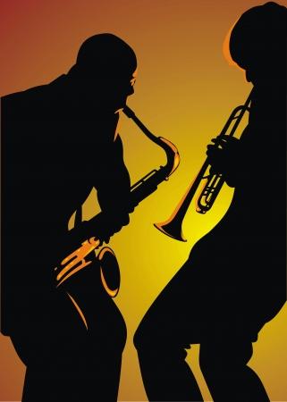 musically: due uomini jazz isolato su sfondo arancione