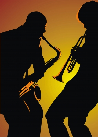 brass wind: two jazz man isolated on the orange background