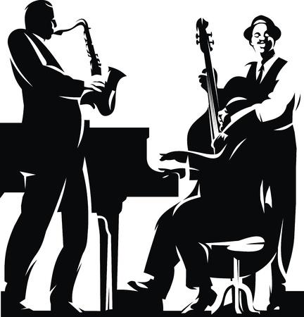 musically: due silhouets scuro isolato su sfondo bianco