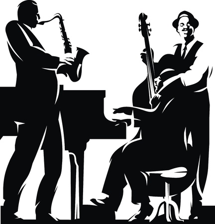 musician silhouette: two dark silhouets isolated on the white background