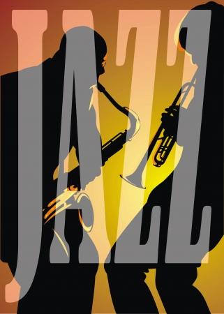 musically: due silhouets scuro isolato su sfondo arancione