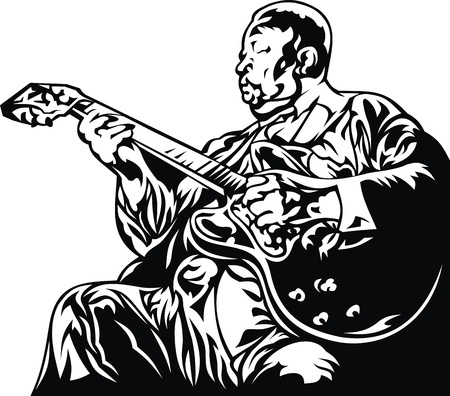 bass player: old jazz man isolated on the white background