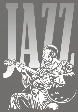 musically: jazzman and jazz in the black and white colors